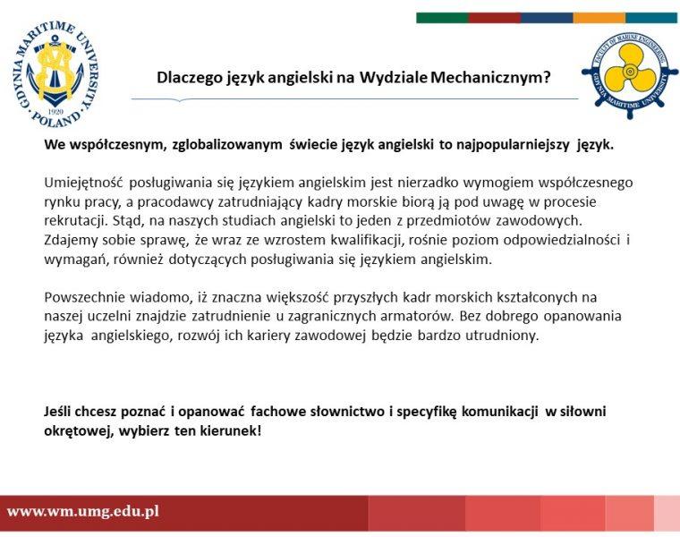 Wydział Mechaniczny - język angielski - 2