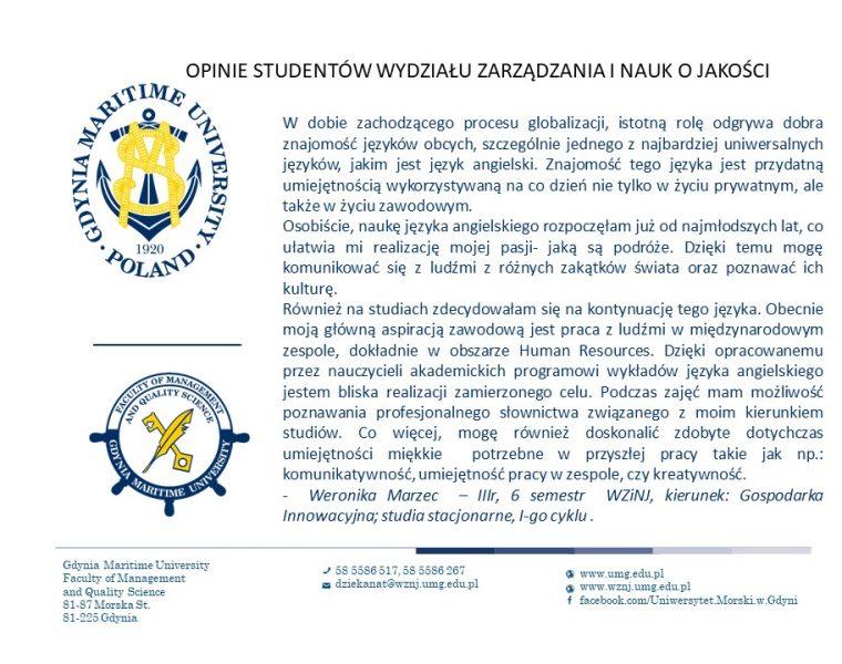 Wydział Zarządzania i Nauk o Jakości - j. angielski -6