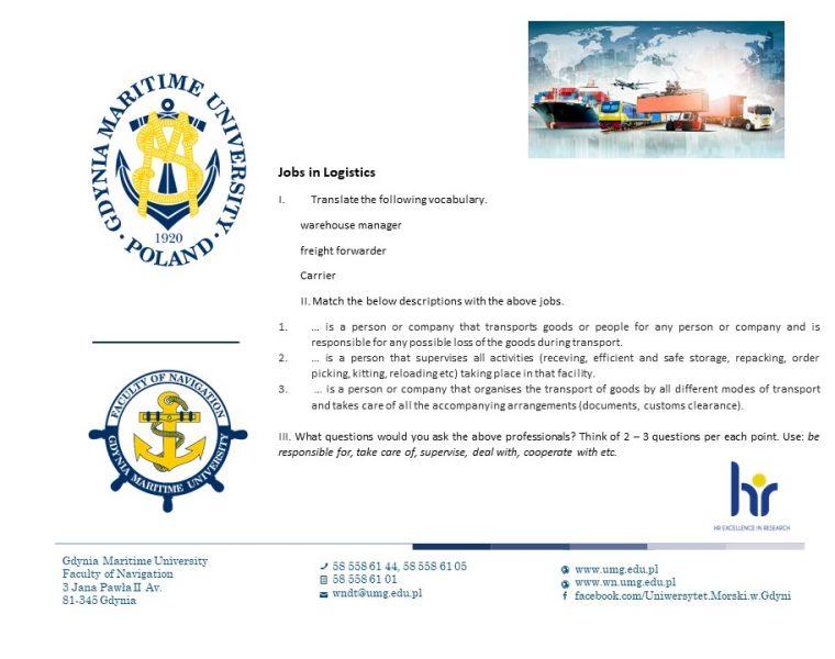 Wydział Nawigacyjny - język angielski - 8